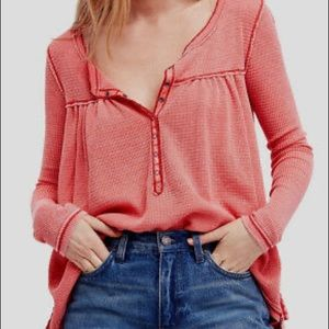 Free People Red Kai Waffle Knit Henley thermal S